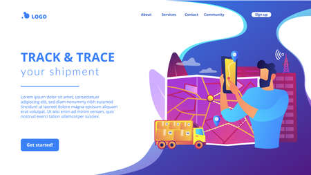 GPS tracker on postal agent truck. Watching delivery in real time. Post service tracking, parcel monitor, track and trace your shipment concept. Website homepage landing web page template. Ilustração