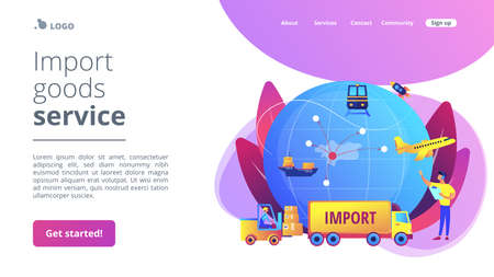 Company specializing in foreign products. Import of goods and services, import goods services, international sales process concept. Website homepage landing web page template.