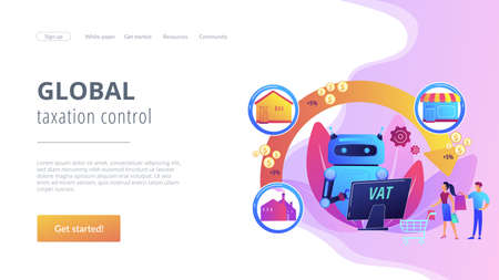 Artificial intelligence, ai calculating taxation multiplier. Value added tax system, VAT number validation, global taxation control concept. Website homepage landing web page template. Illustration