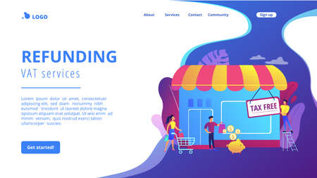Opening new business, startup without taxation. Tax free service, VAT free trading, refounding VAT services, duty free zone concept. Website homepage landing web page template.