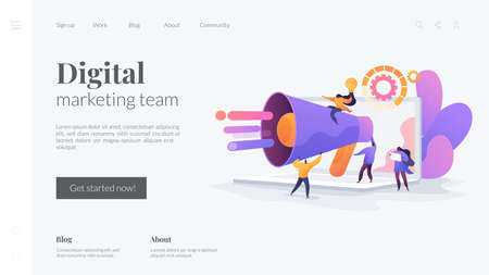 Customer attraction, social media promotion. Digital marketing team, marketing team metrics, marketing team lead, marketing team responsibilities concept. Website homepage header landing web page template.