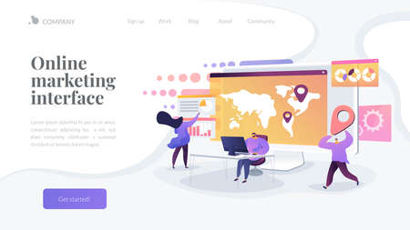 Global business research, international company extension strategy. Social media dashboard, online marketing interface, social media metrics concept. Website homepage header landing web page template.