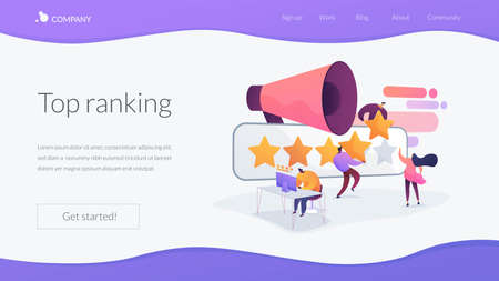 Customer experience and website feedback. Five stars client review. PR and promotion campaign. Rating scale, high-ranking, top-ranking concept. Website homepage header landing web page template.