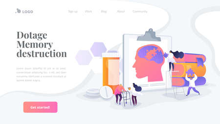 Memory loss, brain illness treatment, therapy. Elderly people mental disorders. Caregivers with patients. Alzheimer s disease, dementia, dotage concept. Website homepage header landing web page template.