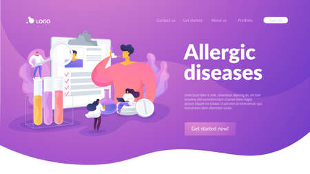 Man suffering from bronchial asthma, using puffer. Cough symptom treatment. Allergic diseases, allergy reaction, antihistamines therapy concept. Website homepage header landing web page template. Vektoros illusztráció
