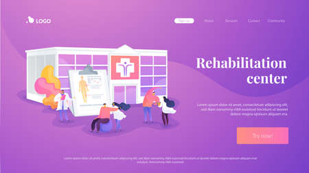 Physiotherapy and rehab clinic patients exercising. Rehabilitation center, rehabilitation hospital, stabilization of medical conditions concept. Website homepage header landing web page template.