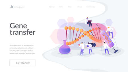 Scientists doing lab research. Disease treatment and prevention. Medical experimental technique. Gene therapy, gene transfer, functioning gene concept. Website homepage header landing web page template.