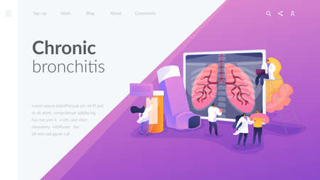 Patient suffering from allergic asthma symptoms. Pneumonia treatment. Obstructive pulmonary disease, chronic bronchitis, emphysema concept. Website homepage header landing web page template. Illustration