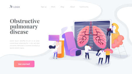 Patient suffering from allergic asthma symptoms. Pneumonia treatment. Obstructive pulmonary disease, chronic bronchitis, emphysema concept. Website homepage header landing web page template.