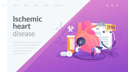 Circulatory system complications. Cardiologists studying human organ. Heart disease, ischemic heart disease, coronary artery disease concept. Website homepage header landing web page template.