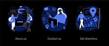 Company information abstract concept vector illustrations. About us, contact us, get directions, website menu, starting web page, business profile, office information, navigation dark mode metaphor.