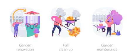 Landscaping service abstract concept illustrations. Vektorgrafik