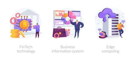 IT infrastructure and technology integration abstract concept illustrations. Ilustração Vetorial