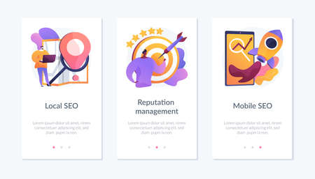SEO management app interface template. Vektorgrafik