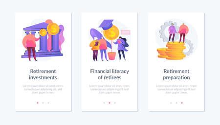 Smart retirement app interface template.