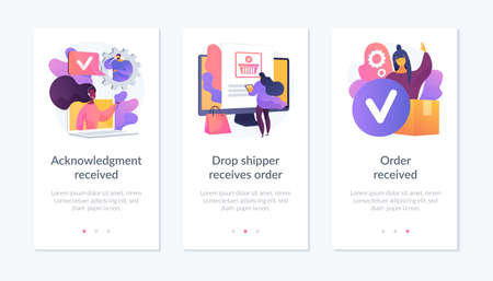 Order processing app interface template.