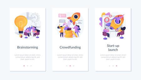 Start-up launching process app interface template.