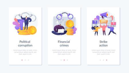 Political crisis app interface template.