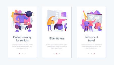 Elder people activities app interface template. Иллюстрация
