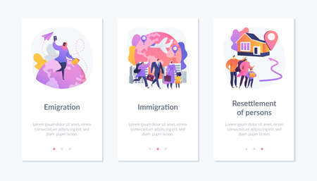 Population mobility, human migration app interface template.