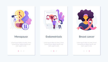 Female health issues app interface template. Illustration