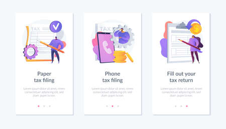 Paper tax filing app interface template.