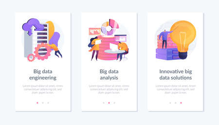 Big data app interface template. Ilustración de vector