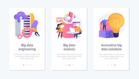 Big data app interface template. Vektoros illusztráció