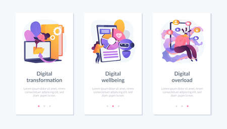World digitalization app interface template. Vettoriali
