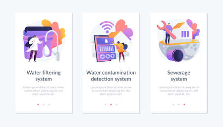 Home water treatment app interface template. Vettoriali