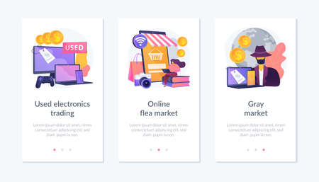 Second-hand device purchasing app interface template. Illustration
