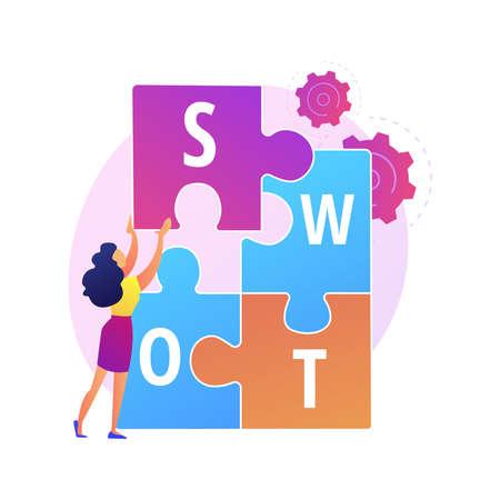 SWOT analysis vector concept metaphor Ilustração