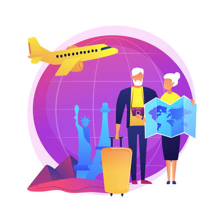Senior couple travelling vector concept metaphor