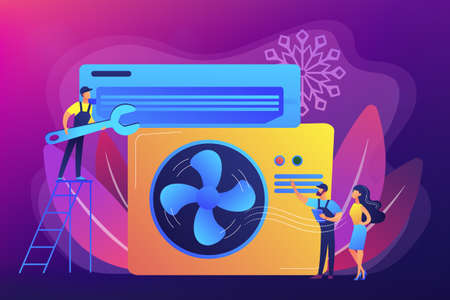 Air conditioning and refrigeration services concept vector illus Stock Illustratie
