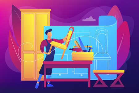 Custom furniture concept vector illustration Stock Illustratie