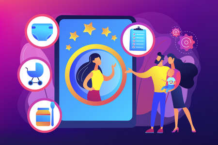 Babysitting services concept vector illustration