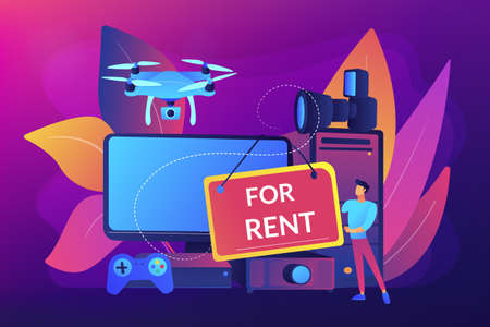 Renting electronic device concept vector illustration.
