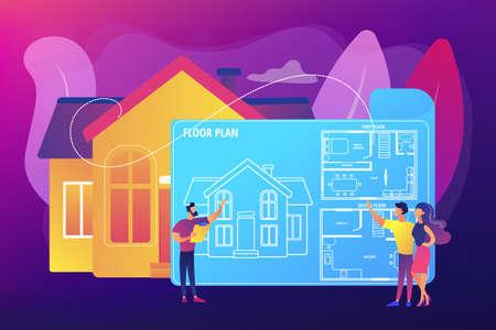 Real estate floor plan concept vector illustration