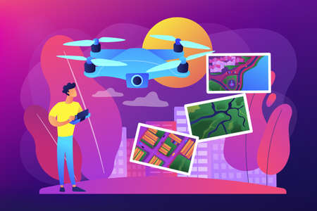 Aerial photography concept vector illustration