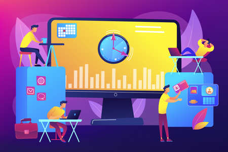 Time and attendance tracking system concept vector illustration Ilustración de vector