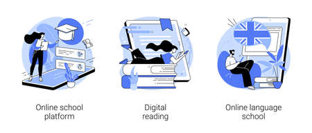 Online education abstract concept vector illustrations.