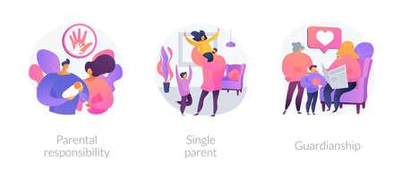 Child custody abstract concept vector illustrations.