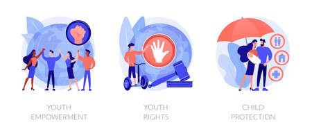 Young people rights protection abstract concept vector illustrations. Illustration