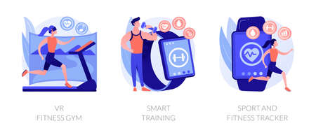 Smart personal training technologies abstract concept vector illustrations. Illustration