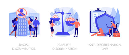 Civil rights violation abstract concept vector illustrations. Illustration