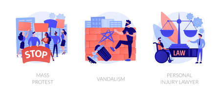 Riots outrage abstract concept vector illustrations.