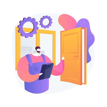 Windows and doors services abstract concept vector illustration.