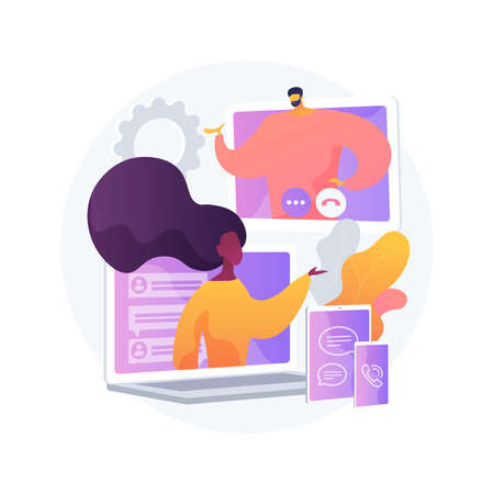 Unified communication abstract concept vector illustration.
