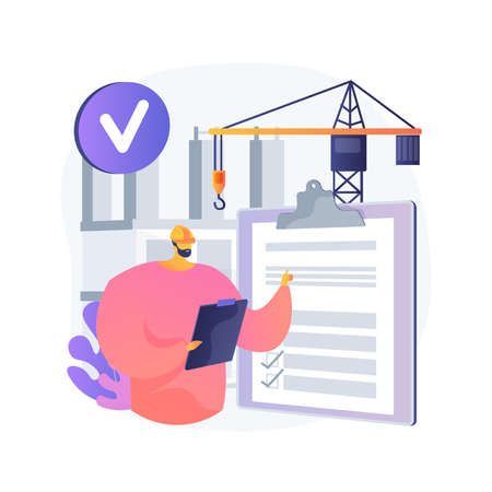 Construction quality control abstract concept vector illustration. Illustration