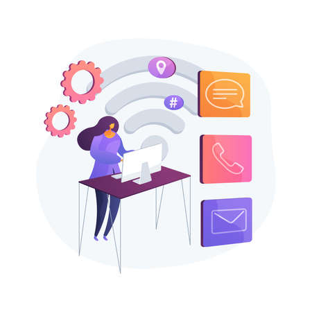 Contact center abstract concept vector illustration. Illustration